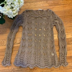 Anthropologie Moth Open-Knit Cable Sweater XS
